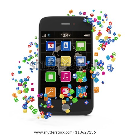 Application Icons around Touchscreen Smartphone isolated on white background - stock photo