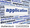 Application poster design. Employment message background - stock photo