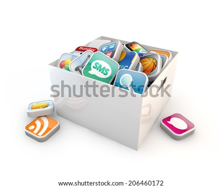 application software box isolated white background - stock photo