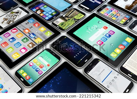 applications concept: a group of mobile devices with apps on the screens - stock photo