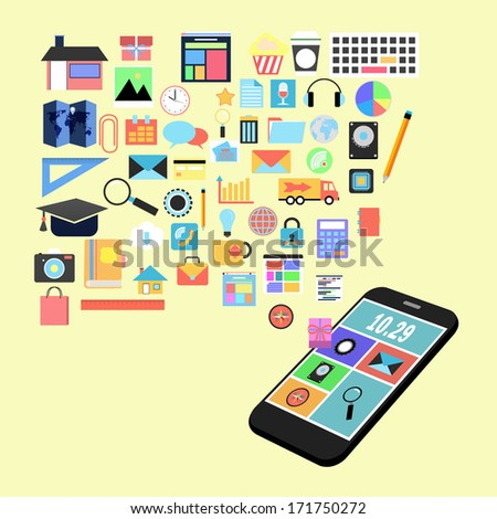 applications graphic user interface flat icons with smart phone