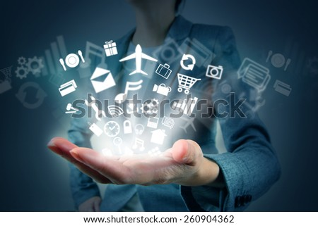 Applications on hand - stock photo