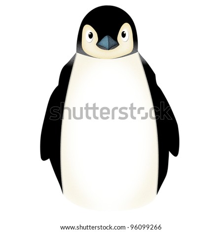 Applique  work in the form of angry penguin from a fabric, isolated on white background - stock photo