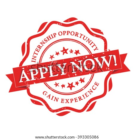 Apply for Internship -  gain experience -  red grunge label with ribbon on white background. Stamp for Internship recruitment. - stock photo