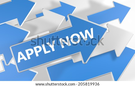 Apply now 3d render concept with blue and white arrows flying over a white background. - stock photo