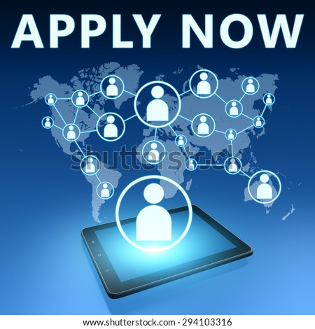 Apply Now illustration with tablet computer on blue background - stock photo