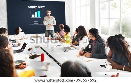 Apply Now Recruitment Hiring Job Employment Concept - stock photo
