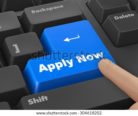 Apply now with keyboard - stock photo