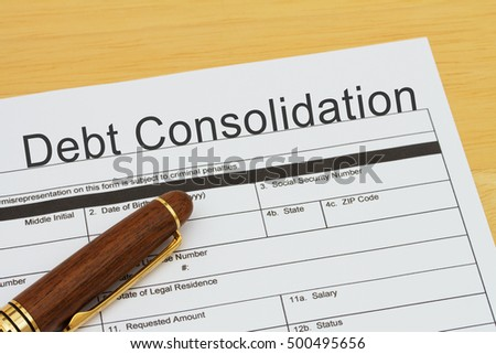Applying for a Debt Consolidation Loan, Debt Consolidation Loan application form with a pen on a desk