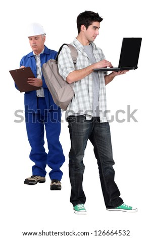 Apprentice and master - stock photo