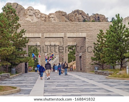 Approach concourse to the Mt. Rushmore National Monument, Keystone, South Dakota - stock photo