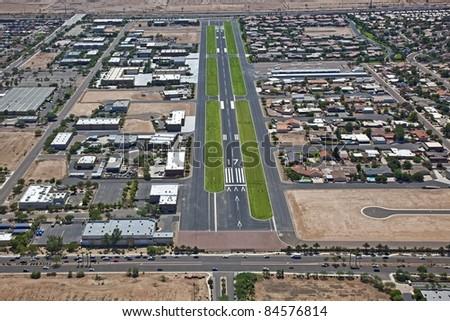 Approach to Stellar Airport in Chandler, Arizona - stock photo