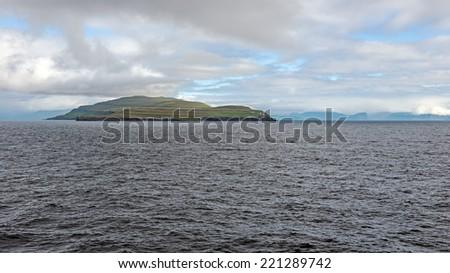 Approach to the Faroe Islands, which are located between Iceland and Scotland, United Kingdom - stock photo