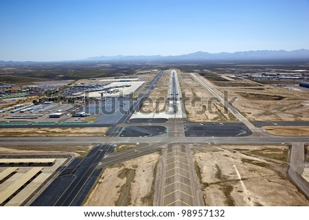 Approach to Tucson International Airport - stock photo