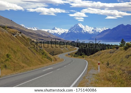 Approaching Mount Cook / Aoraki and Lake Tekapo, South Island, New Zealand - stock photo
