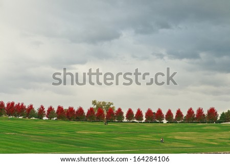 Approaching squall over Forest Park on an autumn day. - stock photo