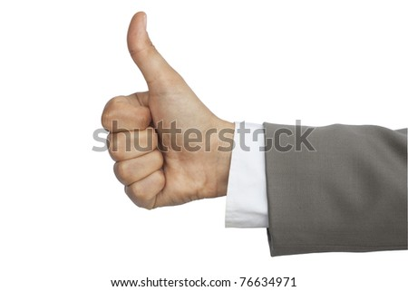 approbating gesture made by hand in a suit - stock photo