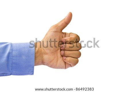 Approbation gesture of business man's hand, isolated on white, like or impressive concept