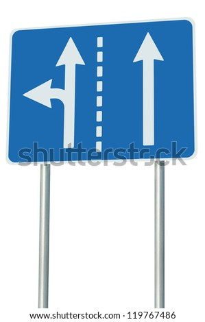 Appropriate traffic lanes at crossroads junction, left turn exit ahead, isolated blue road sign, white arrows, EU european roadside signage, abstract alternative route choice metaphor - stock photo