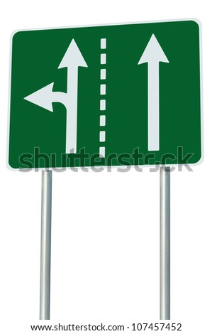 Appropriate traffic lanes at crossroads junction, left turn exit ahead, isolated green road sign, white arrows, EU european roadside signage, abstract alternative route choice metaphor - stock photo