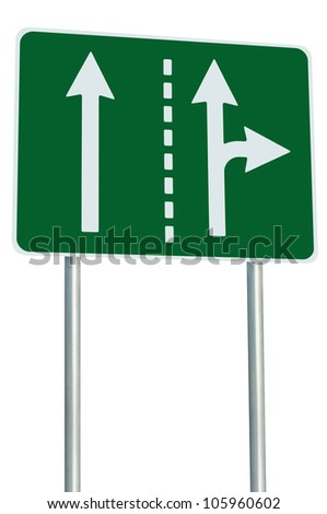 Appropriate traffic lanes at crossroads junction, right turn exit ahead, isolated green road sign, white arrows, EU european roadside signage, abstract alternative route choice metaphor - stock photo