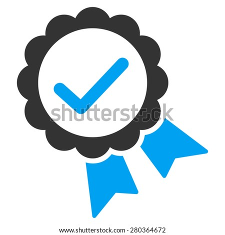 Approved icon from Competition & Success Bicolor Icon Set. This isolated flat symbol uses modern corporation light blue and gray colors. - stock photo