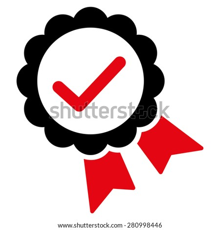 Approved icon from Competition & Success Bicolor Icon Set. This isolated flat symbol uses modern corporation intensive red and black colors. - stock photo