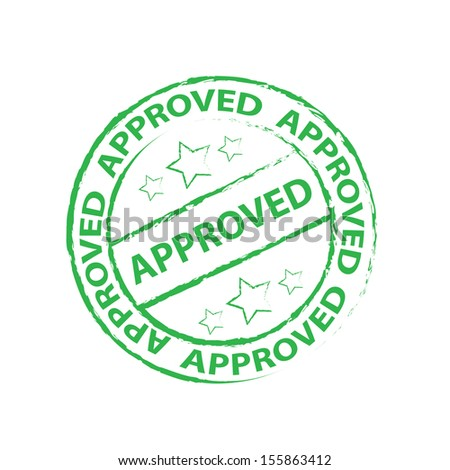 Approved Rubber stamp, sticker, tag, icon, symbol with green color, isolated on white background - jpg format.