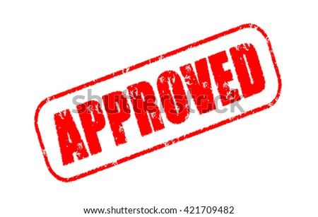Approved stamp on white background - stock photo