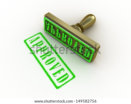 Approved stamp on white background, 3D images - stock photo