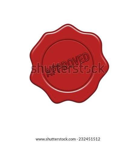 Approved wax seal. - stock photo