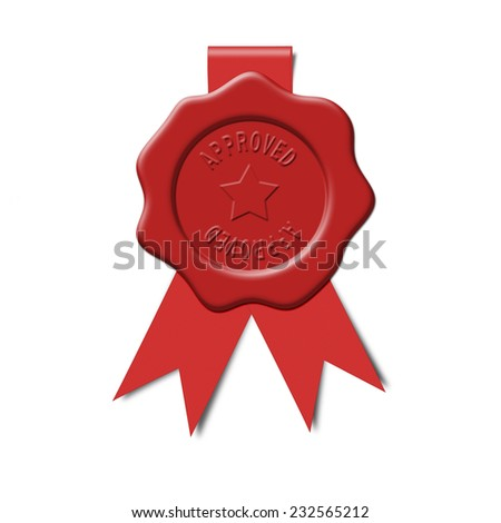 Approved wax seal - stock photo