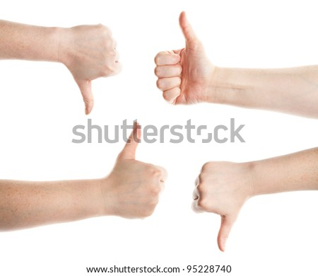 Approving and not encouraging hands gestures, on a white background - stock photo