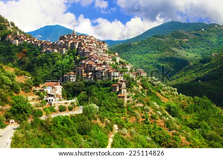 Apricale  - beautiful medieval  hill top village .Liguria, Italy - stock photo