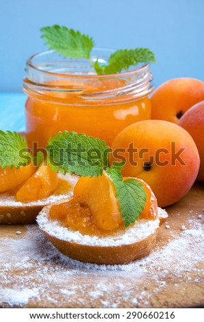 Apricot and apricot jam with bread and mint. - stock photo