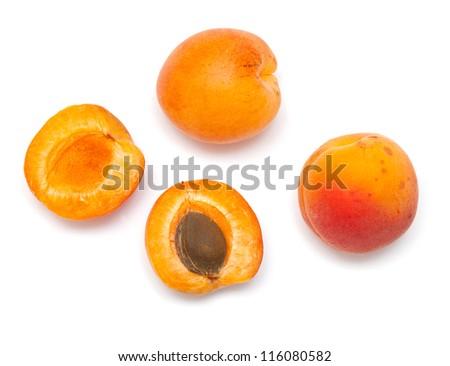 apricot fruit close up isolated on white - stock photo