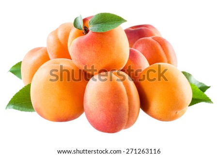 Apricot. Group of fruit isolated on white. - stock photo