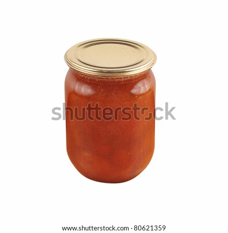 apricot home made jam in jar isolated over white background - stock photo