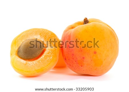 apricot isolated on the white background - stock photo
