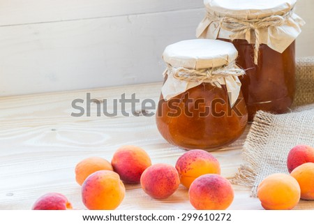 apricot jam on wooden table