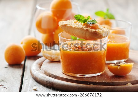 Apricot jam with bread, selective focus - stock photo