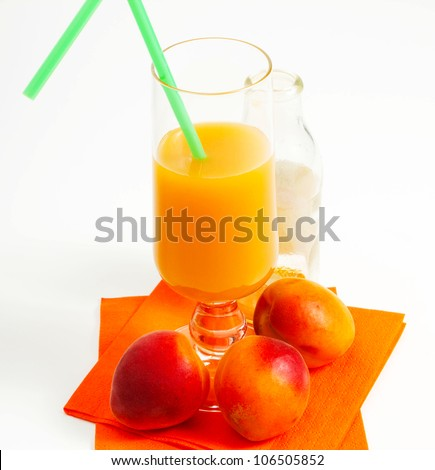 apricot juice on a white background
