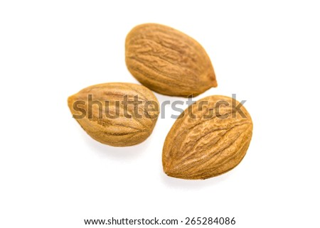 Apricot kernel / nuts isolated on white background. - stock photo