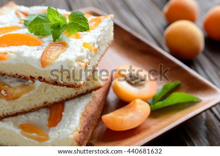 Apricot pie with curd - stock photo