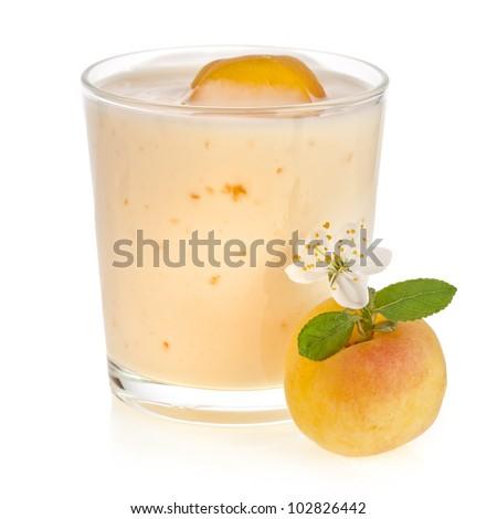 Apricot Smoothie - Fresh Fruits with Yogurt  isolated on white background - stock photo