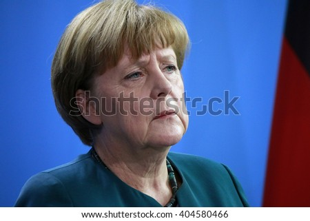 APRIL 12, 2016 - BERLIN: German Chancellor Angela Merkel at a press conference after a meeting with the Mexican president, Chanclery. - stock photo