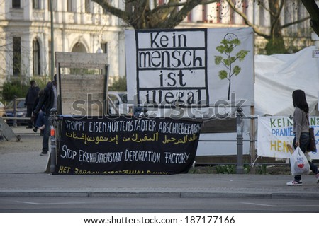 APRIL 4, 2014 - BERLIN: the refugee camp at the Oranienplatz in the Kreuzberg district of Berlin.