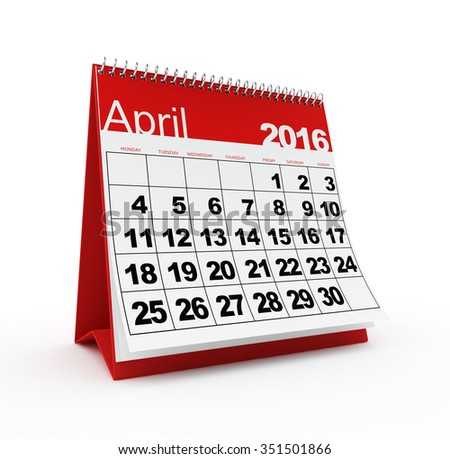 April 2016 calendar - stock photo