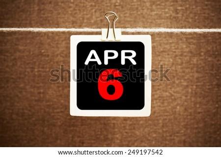April 6 Calendar. Part of a set - stock photo