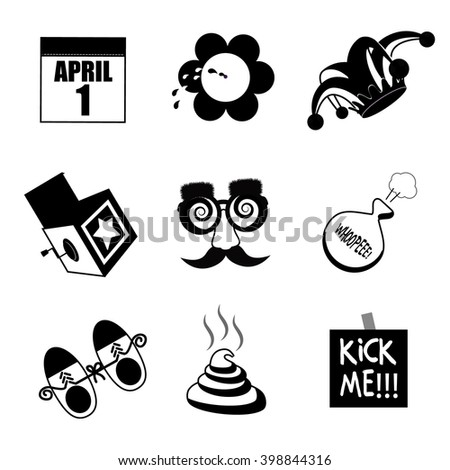 April Fools Day black and white icon collection.  - stock photo